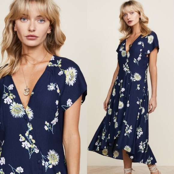 66d6d6c90bd2 Free People Dresses   Lost In You Navy Floral Midi Dress Nwt   Poshmark